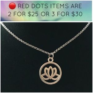 🔴Sale ! Boho lotus flower silver necklace